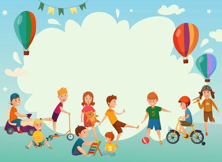Illustration pour Colored cartoon playing kids background or frame with air balloons and group of children vector illustration - image libre de droit