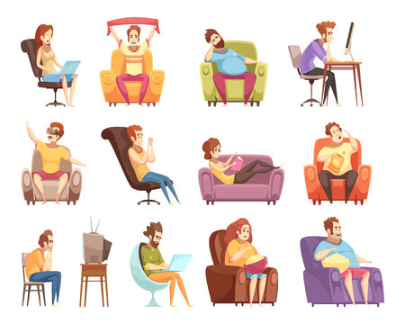 Photo pour Sedentary lifestyle set of retro cartoon icons with work at computer, watching television, reading isolated vector illustration - image libre de droit