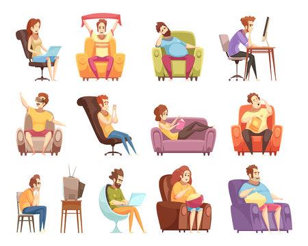 Ilustración de Sedentary lifestyle set of retro cartoon icons with work at computer, watching television, reading isolated vector illustration - Imagen libre de derechos