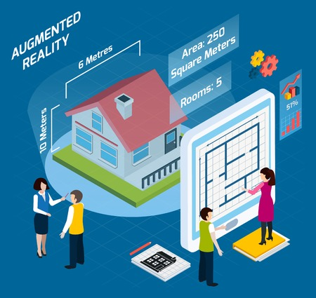 Illustration pour Colored augmented reality isometric composition with area number of rooms and other descriptions vector illustration - image libre de droit