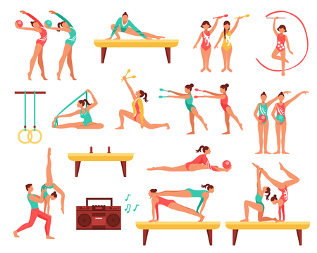 Illustrazione per Decorative icons set with gymnastics including girls with sports tools and acrobatics on beam isolated vector illustration - Immagini Royalty Free