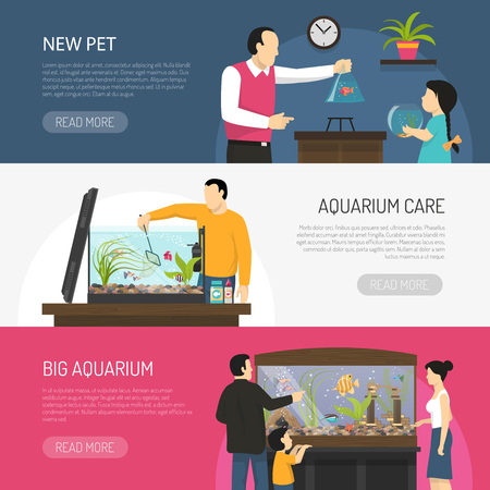 Illustration pour Horizontal flat aquarium banners with people watching and buying fish isolated vector illustration - image libre de droit