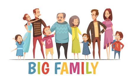 Illustrazione per Big happy harmonious family portrait with grandparents two young couples and little children cartoon vector illustration - Immagini Royalty Free