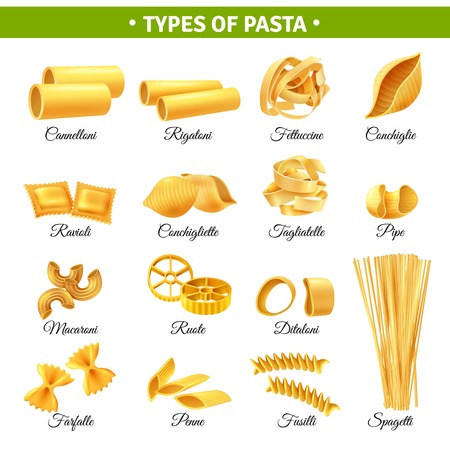 Ilustración de Realistic infographics with types of italian pasta and their names isolated on white background vector illustration - Imagen libre de derechos