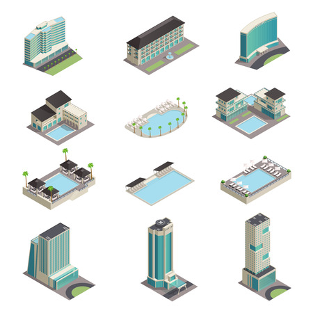 Illustration pour Luxury hotel buildings isometric icons with modern resort skyscrapers pools and relaxation area isolated vector illustration - image libre de droit