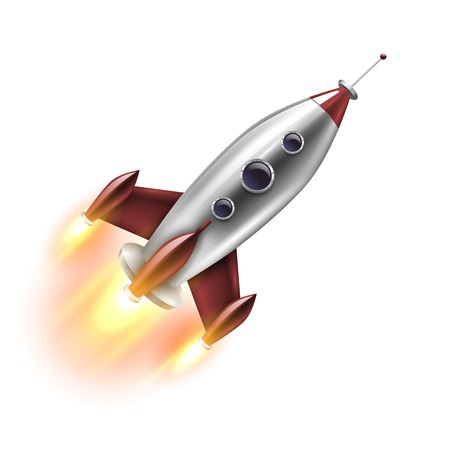 Illustration pour Realistic rocket of red grey color with round portholes in flight on white background isolated vector illustration - image libre de droit