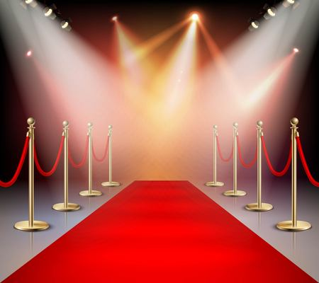 Illustration pour Realistic red carpet in illumination composition event or award ceremony for the stars vector illustration - image libre de droit