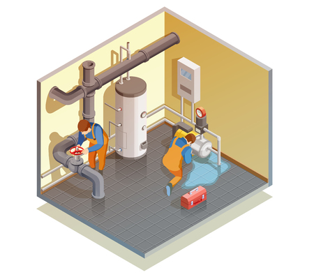 Illustration pour Two plumbers at work fixing boiler leak and checking heating water system pressure isometric composition vector illustration - image libre de droit