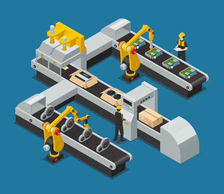 Ilustración de Colored car electronics autoelectronics isometric factory composition with robotized process in the factory vector illustration - Imagen libre de derechos