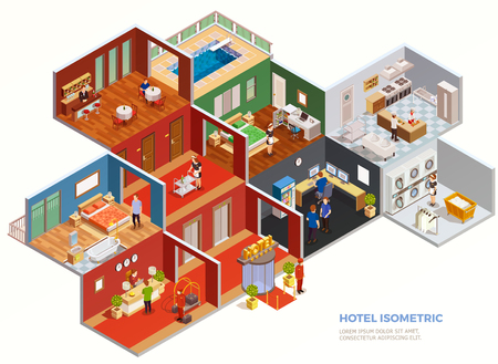 Illustration pour Isometric composition of hotel rooms design interior with staff and guests on white background vector illustration - image libre de droit