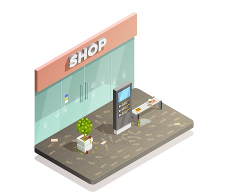 Ilustración de Cleaning isometric composition with dirty shop front flowerbed and bench with footprints and fingermarks with rubbish vector illustration - Imagen libre de derechos
