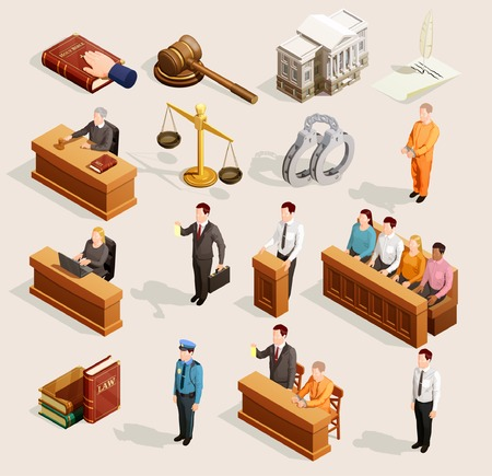 Illustration pour Law icon isometric set of isolated public justice symbols balance gavel wristbands judge and jury characters vector illustration. - image libre de droit