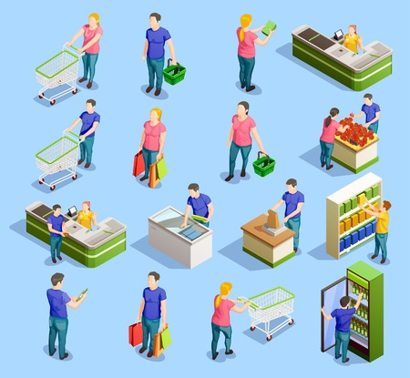 Ilustración de Isometric people shopping set of isolated human characters with trolley carts cabinet shelves and checkout stand vector illustration. - Imagen libre de derechos