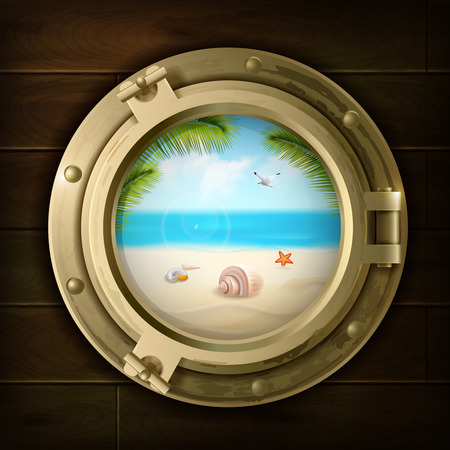 Illustration pour Summer background with palm shells and starfish on beach in ship porthole on wood texture vector illustration - image libre de droit