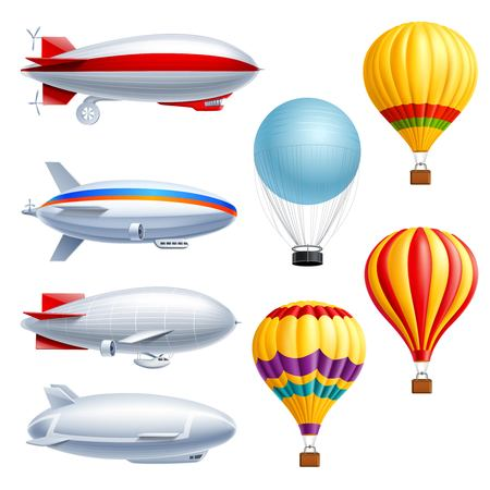 Illustration pour Airship realistic icon set with different types of planes dirigible and air balloons vector illustration - image libre de droit