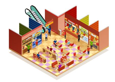 Ilustración de Food court interior with many visitors isometric composition on white backgrpund vector illustration - Imagen libre de derechos
