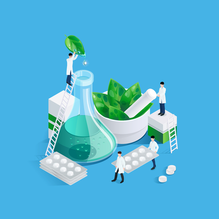 Illustration pour Conceptual background with pharmacy medication images of drug production chemists figures carrying blister cards of pills vector illustration - image libre de droit
