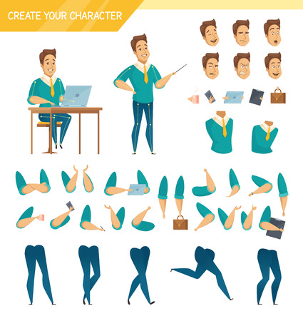 Illustration pour Office male worker character creator constructor elements collection with hands legs heads and accessories isolated vector illustration - image libre de droit