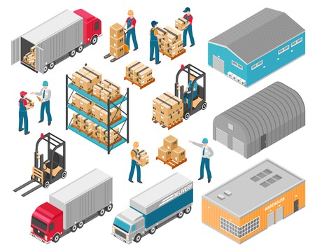 Illustration pour Isolated isometric warehouse logistic icon set with warehouse building trucks and cargo vector illustration - image libre de droit