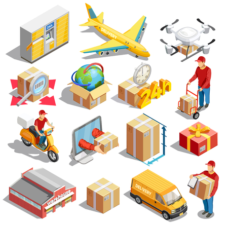 Illustration pour Delivery icon isometric set of sixteen isolated images with packaging concepts vehicles and automated parcel locker vector illustration - image libre de droit