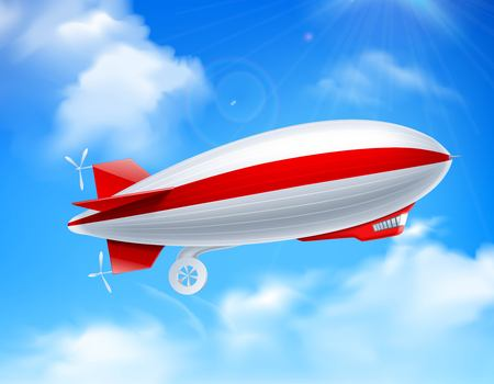 Illustration pour Colored and realistic zeppelin on sky composition with big dirigible in the sky vector illustration - image libre de droit