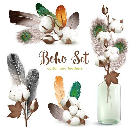 Ilustración de Boho style decorations with ripe cotton plant bolls colorful feathers glass bottle realistic compositions collection vector illustration - Imagen libre de derechos