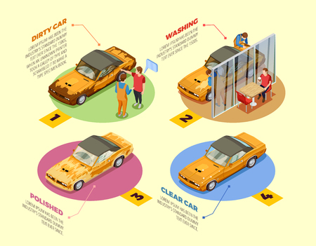 Ilustración de Car wash service 4 isometric infographic icons poster with auto cosmetics cleaning and polishing products vector illustration - Imagen libre de derechos