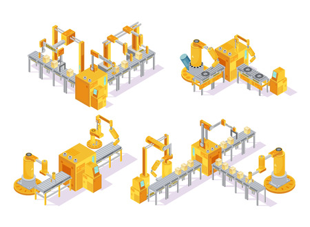 Illustration pour Conveyor system with computer control isometric design concept including production line and packaging isolated vector illustration - image libre de droit