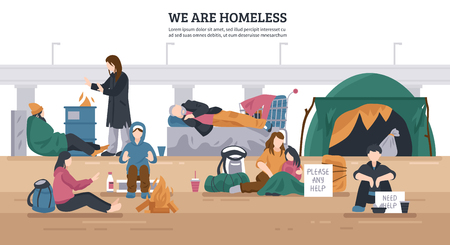 Illustration pour Colored and flat homeless people horizontal background with we are homeless descriptions vector illustration - image libre de droit