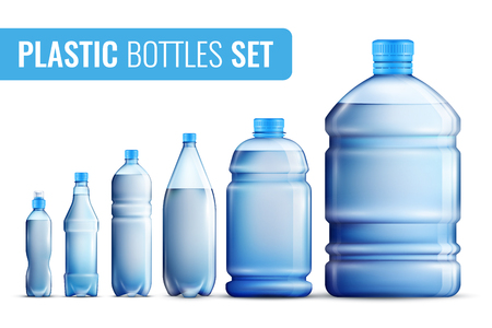 Illustration pour Colored realistic plastic bottles icon set for water in different vector illustration - image libre de droit