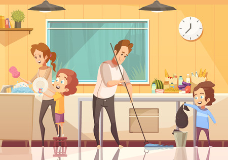 Illustration pour Kids helping parents cleaning kitchen retro cartoon poster with floor sweeping and washing dishes abstract vector illustration - image libre de droit