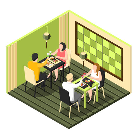 Illustration pour Isometric composition with two couples having dinner at sushi bar on white background 3d vector illustration - image libre de droit