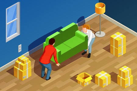 Illustration pour Moving people isometric composition with new residence room interior carton boxes and couple characters moving sofa vector illustration - image libre de droit