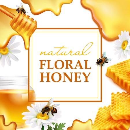 Ilustración de Natural floral honey colorful frame with honeycombs daisy flowers bees and honey flowing realistic. - Imagen libre de derechos