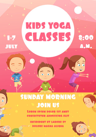 Ilustración de Kids yoga classes poster with advertising of training programs date and time flat vector illustration - Imagen libre de derechos