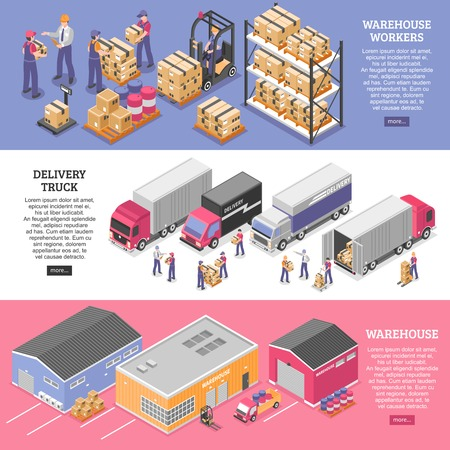 Illustration pour Logistics horizontal banners set with delivery symbols isometric isolated vector illustration - image libre de droit