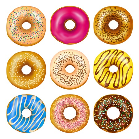 Illustration pour Realistic set of delicious glazed donuts with colorful toppings isolated on white background vector illustration - image libre de droit