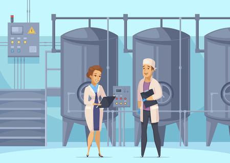 Ilustración de Dairy production cartoon composition with factory workers on background of tanks for milk pasteurization vector illustration - Imagen libre de derechos