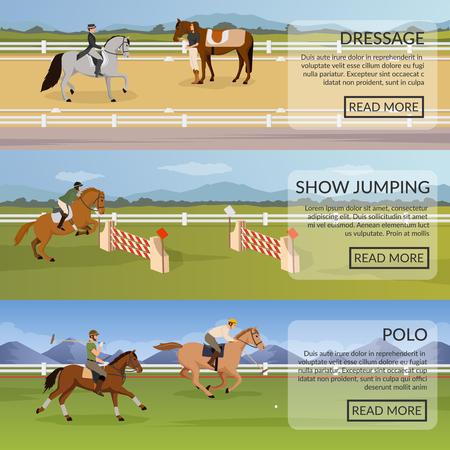 Ilustración de Equestrian sport set of flat horizontal banners with dressage, show jumping, polo on horses isolated vector illustration - Imagen libre de derechos