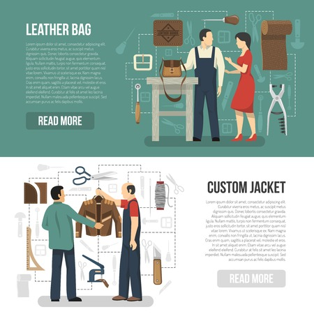 Illustration pour Manufacturing of leather clothing and accessories horizontal banners with customers and skinners demonstrating finished goods flat vector illustration - image libre de droit