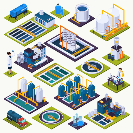Illustration pour Water cleaning set of isometric icons with facilities of purification plant, laboratory test, transportation isolated vector illustration - image libre de droit