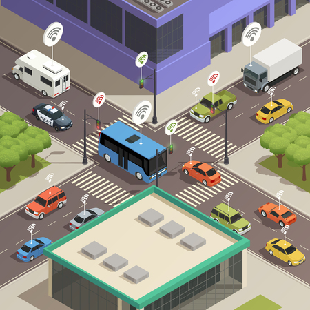 Illustration pour Smart city traffic lights assistance technology connecting  cars in busy streets intersections isometric composition poster vector illustration - image libre de droit