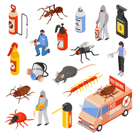 Illustration pour Pest control service workers 3d isometric icons set isolated on white background vector illustration - image libre de droit