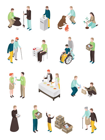 Illustration pour Charity volunteer people isometric set of isolated human characters of different age doing various humanitarian activities vector illustration - image libre de droit