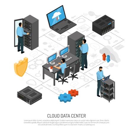 Illustration pour Cloud data center isometric flowchart with technical staff and racks of server units vector illustration - image libre de droit