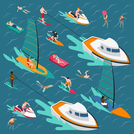 Illustration pour Isometric water sports colored people composition with swimming people in the sea vector illustration - image libre de droit