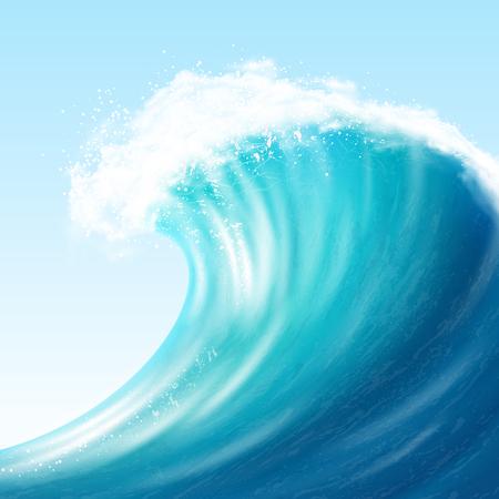 Ilustración de Realistic sea big wave - Imagen libre de derechos