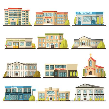 Ilustración de Colored isolated municipal buildings icon set with post office polyclinic college bank library hospital buildings descriptions vector illustration - Imagen libre de derechos