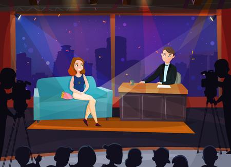 Illustration pour Smiling female participant in live talk show cartoon vector illustration - image libre de droit