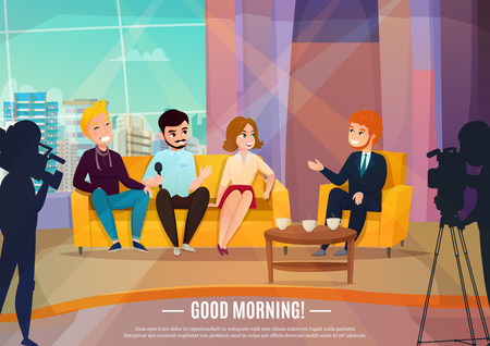Illustration pour Talk show flat poster with three participants sitting on a couch and male reporter vector illustration - image libre de droit
